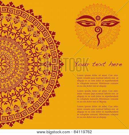 Yellow Buddhist henna mandala background