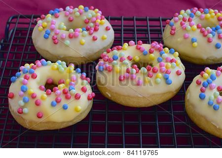 Donuts with glazed white chocolate