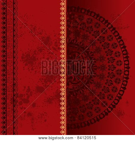 Red Indian henna mandala banner