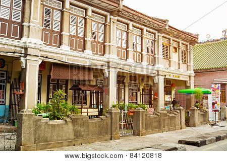 Malaysia, Penang, Georgetown - Circa Jul 2014: Beautiful, Colonial Style Architecture Is Visible