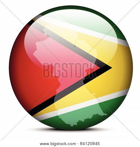 Map On Flag Button Of Guyana