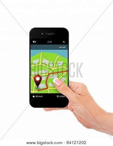 Hand Holding Mobile Phone With Navigation Application Isolated Over White