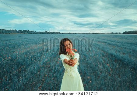 Beautiful Girl With Bouquet Of Flowers In Summer