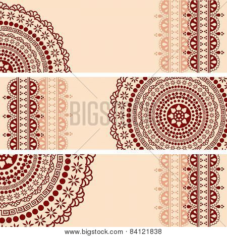 Burgundy Indian henna mandala horizontal banners