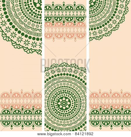 Green Indian henna mandala vertical banners