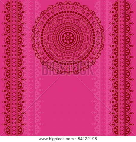 Pink henna mandala background design