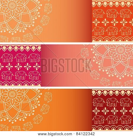 Colorful Indian elephant henna and mandala horizontal banners