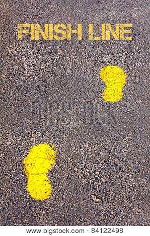 Yellow Footsteps On Sidewalk Towards Finish Line Message