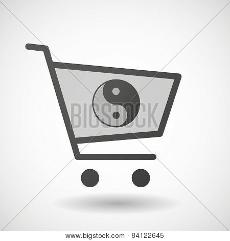 Shopping Cart Icon With A Ying Yang