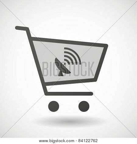 Shopping Cart Icon With A Satellite Dish