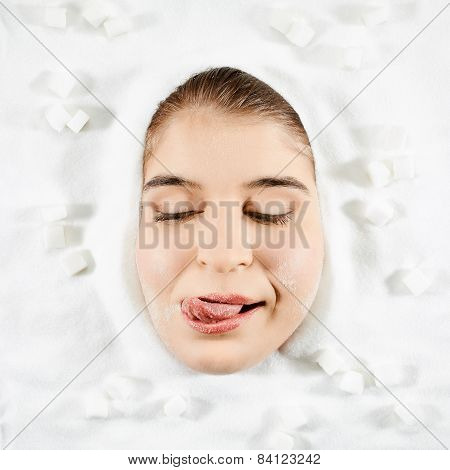 Woman And White Sugar