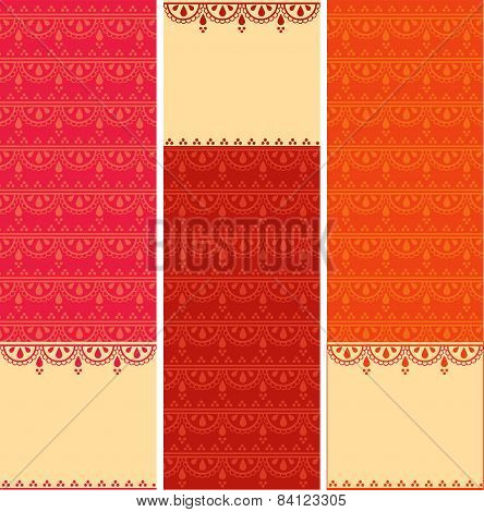 Colorful Indian henna pattern vertical banners