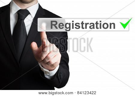 Businessman Pressing Button Registration Isolated