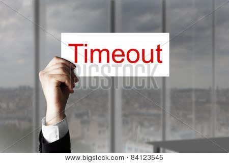 Hand Holding Up Sign Timeout