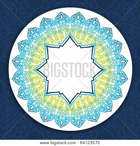 Floral round  border on seamless background.