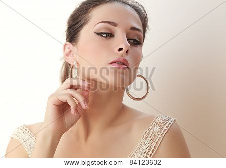 Alluring Beautiful Makeup Woman Looking. Soft Light Portrait
