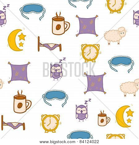 Seamless hand drawn background on sleep theme