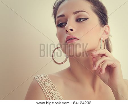 Beautiful Romantic Woman Looking Mystery. Closeup Art Portrait