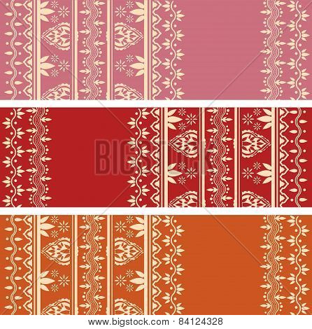 Indian henna design horizontal banners