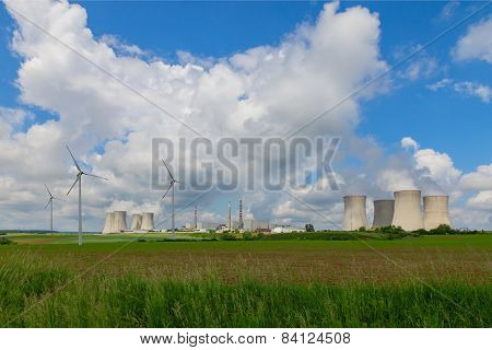 Nuclear power plant Dukovany in Czech Republic Europe, wind turbines