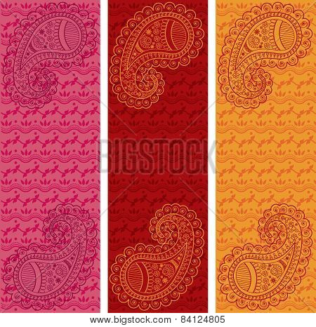 Set of colorful Indian henna paisley vertical banners