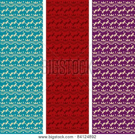 Set of colorful Indian henna vertical banners