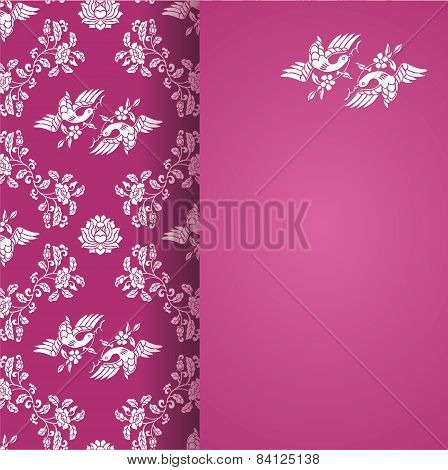 Flower and bird classical pink pattern with banner