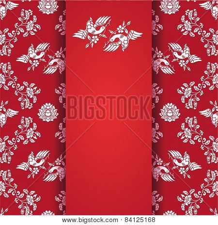 Flower and bird classical red pattern with banner