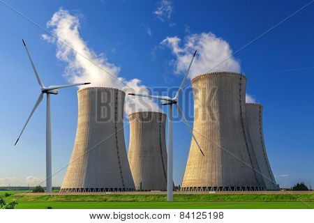 Nuclear power plant Dukovany with wind turbines in Czech Republic Europe