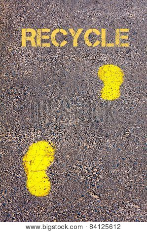 Yellow Footsteps On Sidewalk Towards Recycle Message