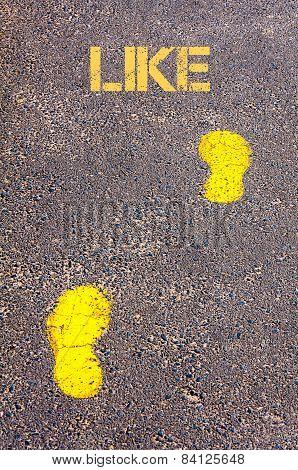 Yellow Footsteps On Sidewalk Towards Like Message