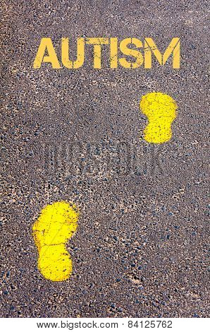 Yellow Footsteps On Sidewalk Towards Autism Message