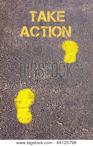 Yellow Footsteps On Sidewalk.take Action Message