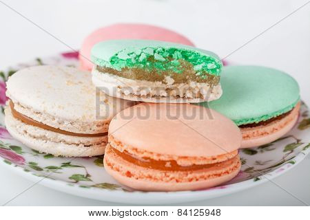 Traditional French sweets Macarons on a plate