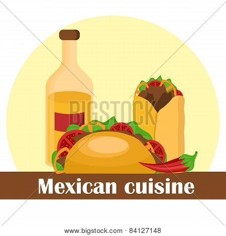 Vector illustraktion with mexican food