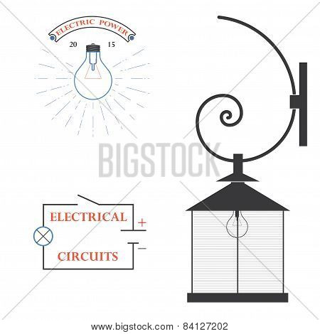 set of logos for electricians
