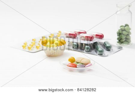 Tablets, Capsules And Vitamins In Blisters Isolated