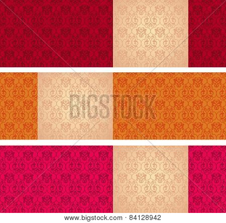 Set of classical pattern horizontal banners