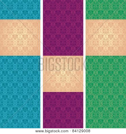 Set of classical pattern vertical banners