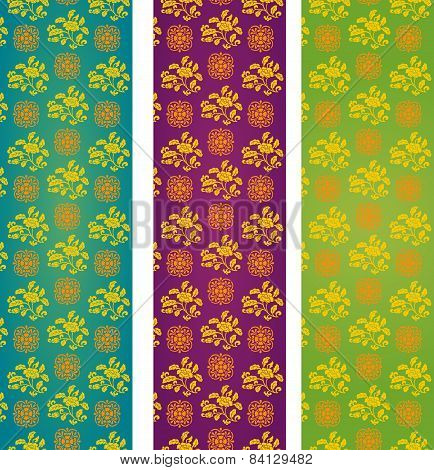 Set Of Colorful Vintage Asian Floral Pattern Vertical Banners