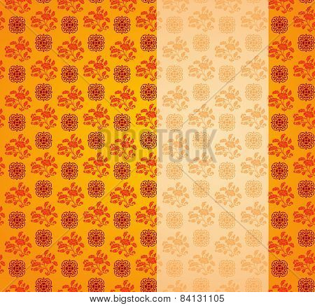 Vintage Asian Floral Pattern Background With Vertical Banner
