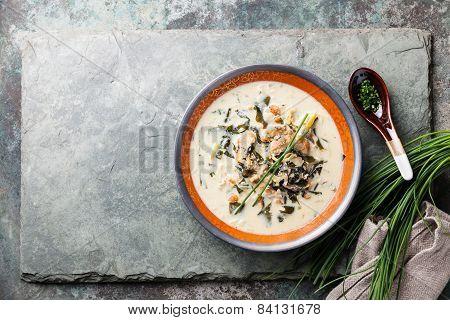 Creamy Soup With Eel On Stone Slate Background