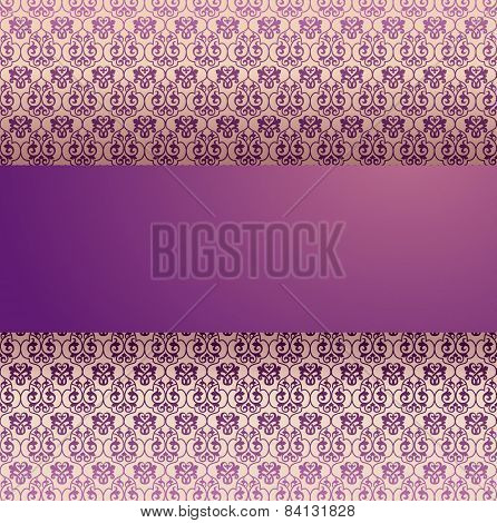 Classical purple pattern background with banner