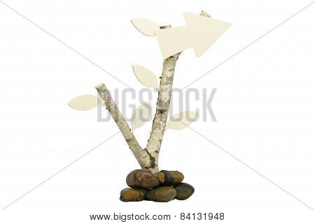 Birchwood with wooden arrow the the right