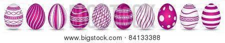 Ten Easter Eggs In Magenta With Texture