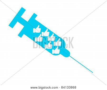 Dependence on public opinion. Syringe with icon like. Vector illustration.