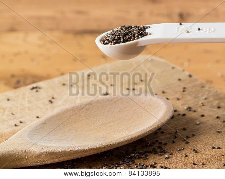 Tiny Chia Seeds In Measuring Spoon