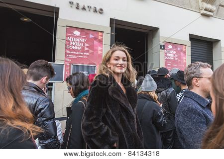 People Outside Alberto Zambelli Fashion Show Building For Milan Women's Fashion Week 2015