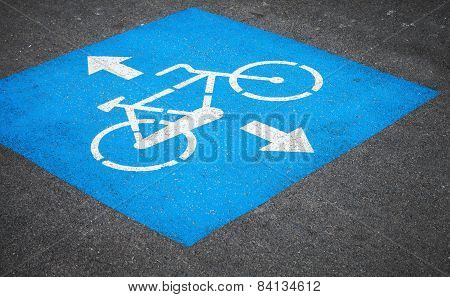 Bicycle Lane Road Marking Over Urban Asphalt Road