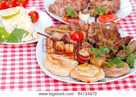 Grilled meat - rolled chicken breasts